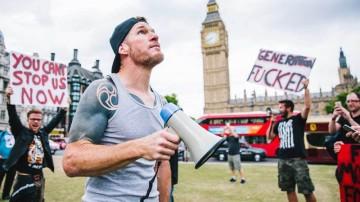 Tim Commerford in Parliament Square. Photo /  Derek Bremner